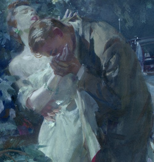 detail of painting by john gannam showing woman's hand being kissed by man