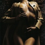 eniko mihalik nude in a tan trenchcoat by mario sorrenti