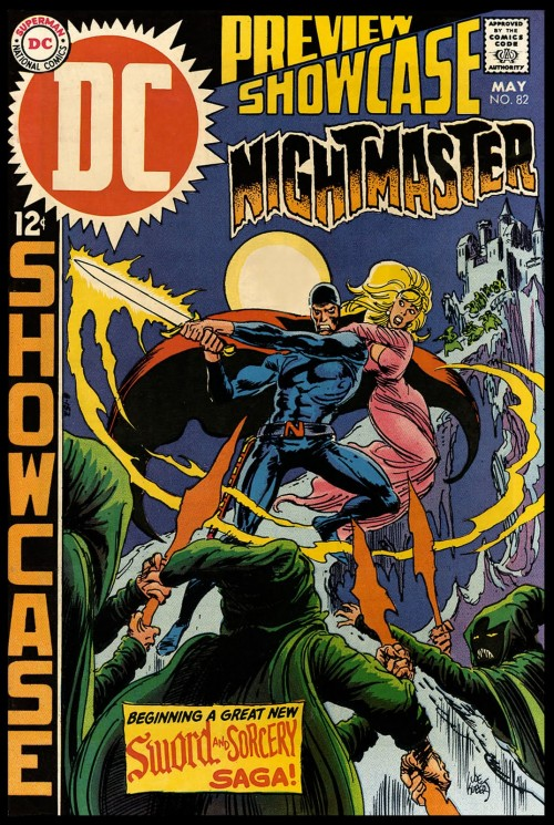 cover to Showcase 82 May, 1969 by Joe Kubert featuring a knight with flaming sword, and maiden
