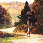 schoolgirl walking on road near house in autumn