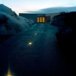 concrete driveway with sunken lights