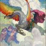 man riding atop rainbow-winged creature soaring over clouds and mountains, by n.c. wyeth