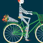 woman in beret riding green bicycle with bouquet of flowers