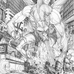 fin fang foom destroying a city street by Tradd Moore