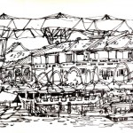 Pen and ink drawing of Clarke Quay