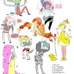 several women in the style of adventure time