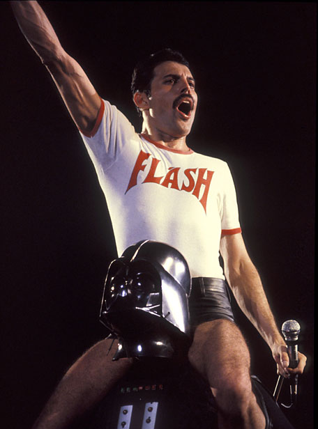 freddy mercury on darth vader's shoulders