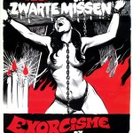 black white and red poster for jess franco's exorcism