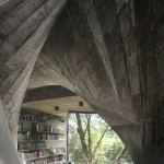 study with books overlooking trees, as seen through raw concrete fanned columns