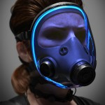 woman in gas mask cgi character design