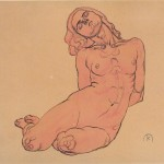 A crouching woman - Koloman Moser