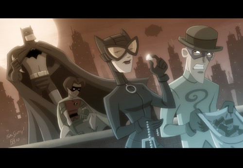 Bat Man, Cat Woman, Robin and Riddler
