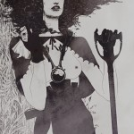 black and white topless woman with gloves corset and shovel