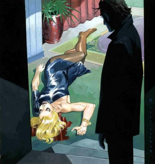 corpse of blonde woman sprawled on floor in pool of blood as man looks on from doorway