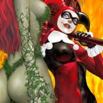poison ivy and harley quinn with flames in bg