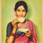 Indian woman sips tea &#8211; calendar art