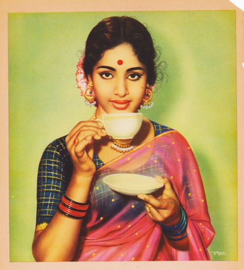 Indian calendar art - Woman in saree sips tea