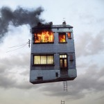 flying burning house by laurent chehere
