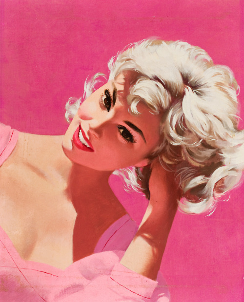 blonde woman against pink background
