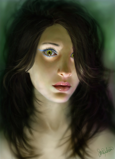 Digital portrait illustration by Sara Biddle