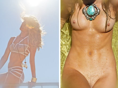 Nude with necklace and strappy bikini - Sasha Eisenman photographing for Playboy France