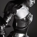 model in armour by christian dior