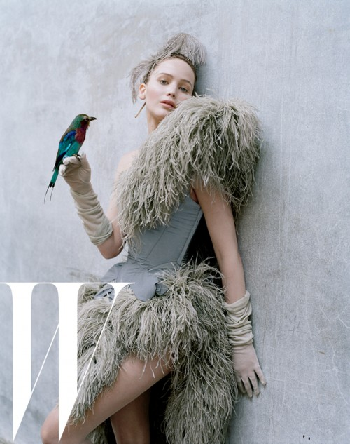 Jennifer Lawrence in feathered fashions by Tim Walker