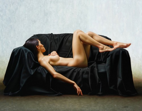 Realistic painting of a nude laying on a couch by Omar Ortiz