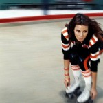 Raquel Welch on skates in 'Kansas City Bomber', 1972.