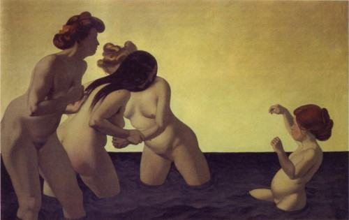 Three Women and a Little Girl Playing in the Water