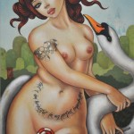 Nude woman and swan - Leda by Mimi Yoon