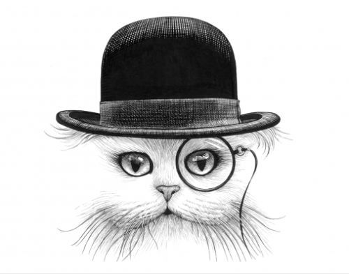 Cat in a Hat 3 by Rory Dobner - ink drawing
