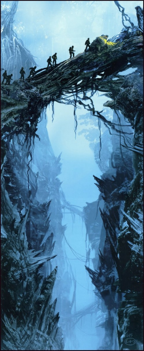 Concept art painting of adventurers traversing a crevasse from Peter Jackson's King Kong