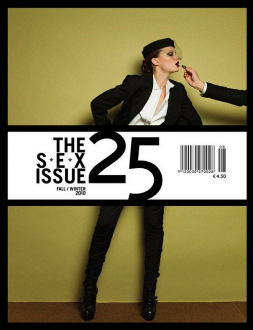 magazine cover featuring a model being fed by an off-frame hand