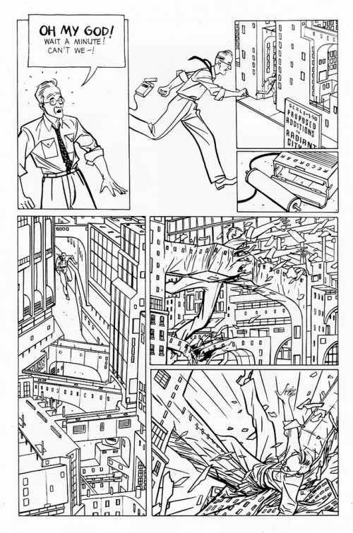 comic book page of a man running through a scale model of a city