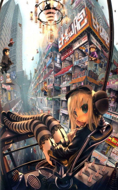 digital painting of an anime girl on a balcony overlooking a fantasy cityscape