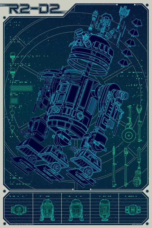 poster featuring an exploded view of parts for r2d2 from star wars