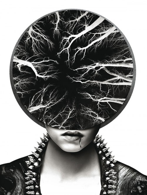 black & white surreal photo-illustration of a punk woman's face with a negative of trees