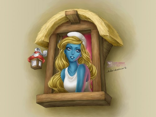 realistic digital painting of smurfette from the smurfs at a window