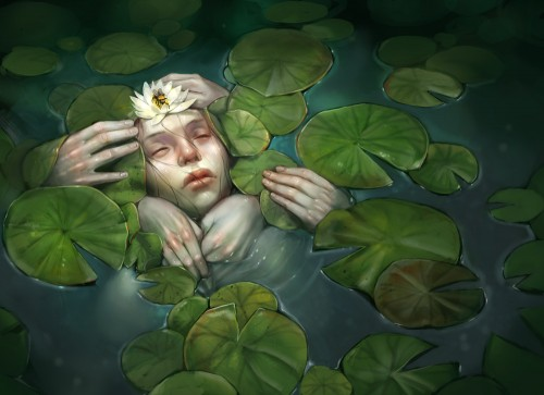 digital painting of a woman's face being pulled underwater in a pond