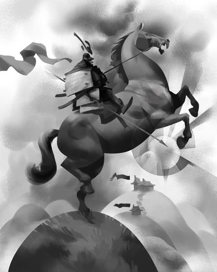 black & white digital painting of a samurai on horseback