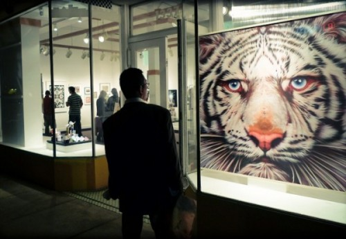 photo of a man looking at a painting of a white tiger in a gallery window