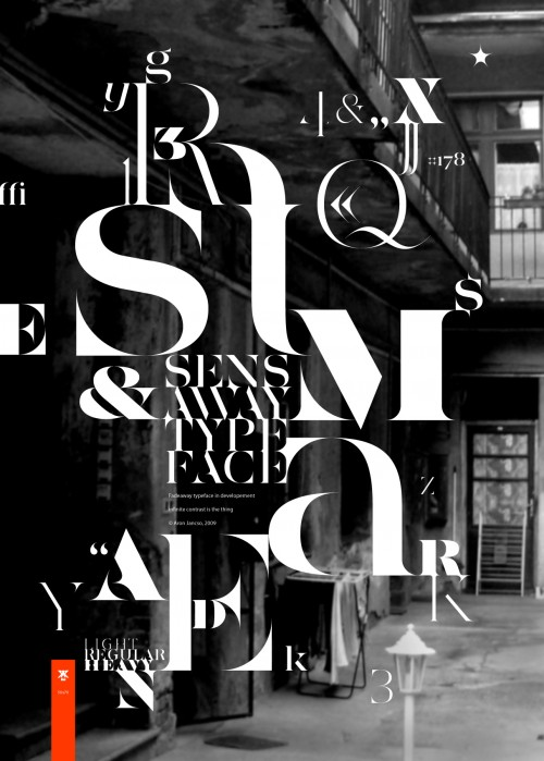 typographic poster featuring deconstructed letters