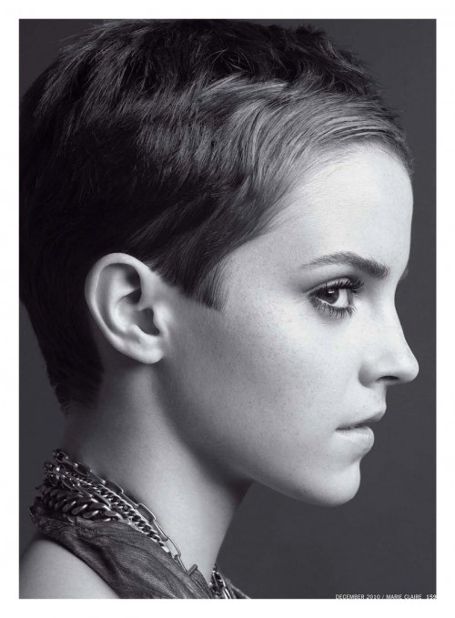 black & white profile portrait of actress Emma Watson with very short hair