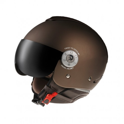 Product photograph of a brown motorcycle helmet with a red strap and tinted visor