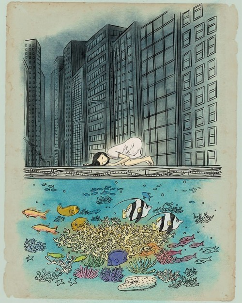 surreal illustration of a girl listening to a sea bed scene under a city street