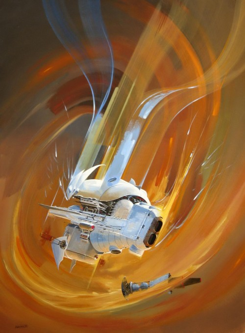painting of a white spaceship in a nebula - Manchu space art