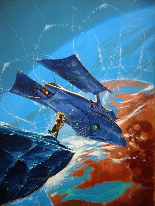 painting of a woman on a meteorite looking at a spaceship heading to a planet - Manchu space art