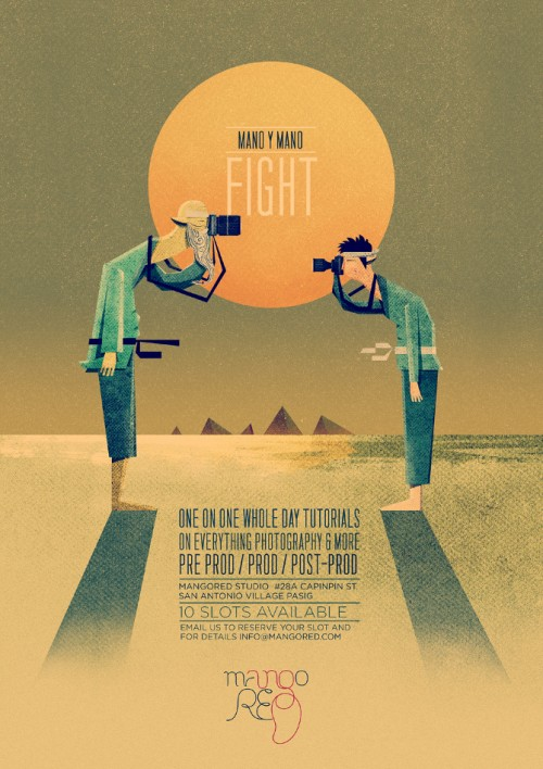 stylised poster design of two men having a standoff