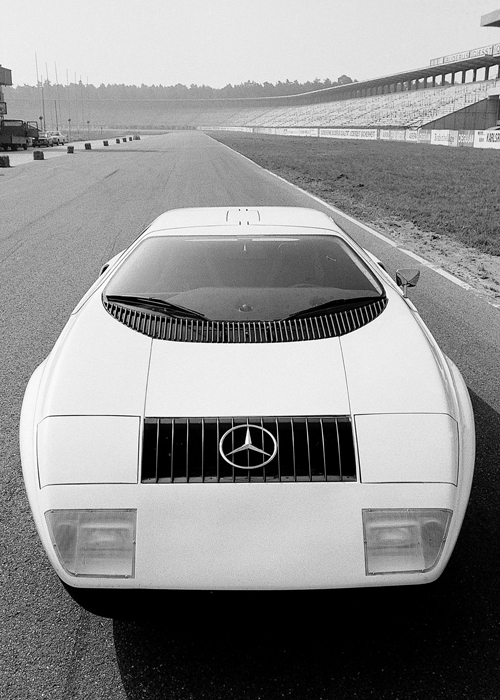 photograph of a mercedez benz concept sports car